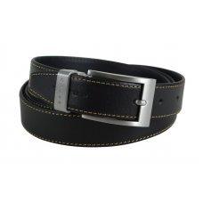 Ремень Cross Pamplona Black, односторонний, кожа гладкая, цвет чёрный с бежевой строчкой, 126 х 3 см AC418155NF