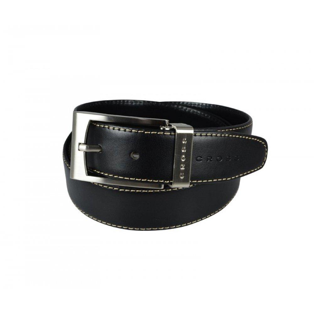 Ремень Cross Pamplona Black, односторонний, кожа гладкая, цвет чёрный с бежевой строчкой, 126 х 3.5 AC418413NF