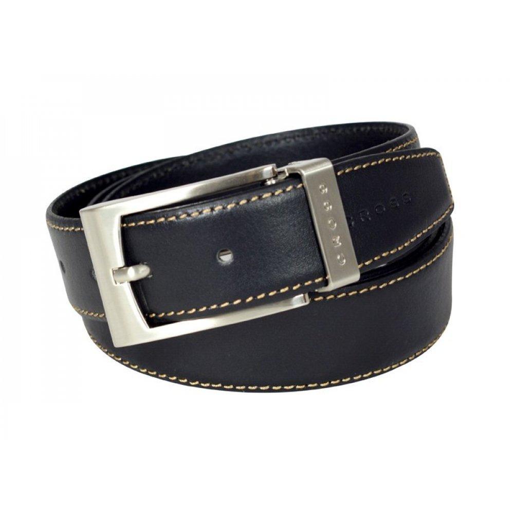 Ремень Cross Pamplona Black, односторонний, кожа гладкая, цвет чёрный с бежевой строчкой, 126 х 3.5 AC418414NF