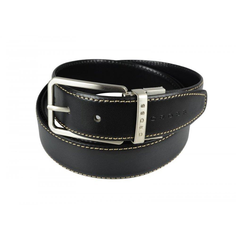 Ремень Cross Pamplona Black, односторонний, кожа гладкая, цвет чёрный с бежевой строчкой, 126 х 3.5 AC418494NF