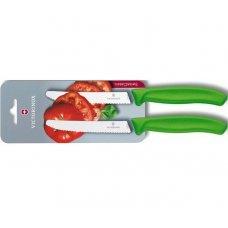 Кухонный нож Victorinox 6.7836.L114B, 11 см., серрейтор, 2 шт. в блистере, зеленые 6.7836.L114B
