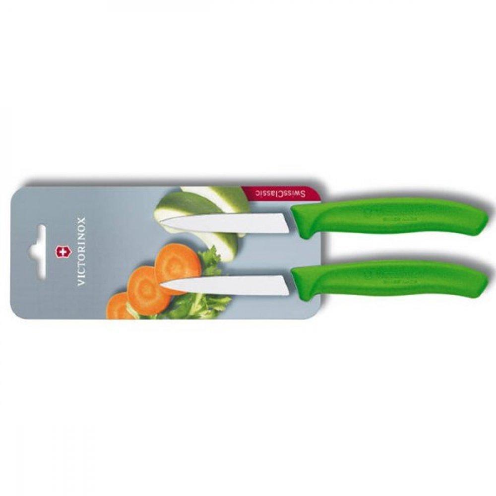 Кухонный нож Victorinox 6.7606.L114B, 8 см., 2 шт. в блистере, зеленые 6.7606.L114B