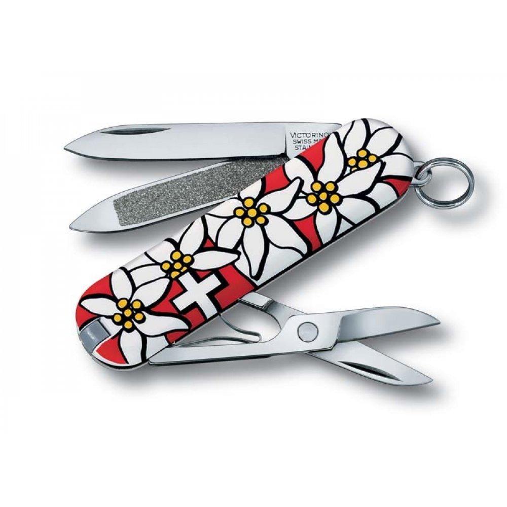 Нож-брелок VICTORINOX Classic Edelweiss, 58 мм, 7 функций, разноцветный 0.6203.840