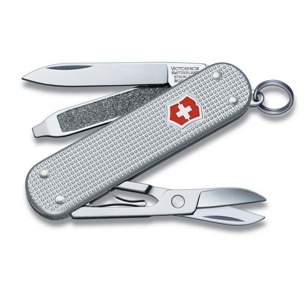 Нож-брелок VICTORINOX Classic Alox, 58 мм, 5 функций, алюминиевая рукоять, серебристый 0.6221.26