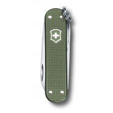 Нож-брелок VICTORINOX Classic Alox, 58 мм, 5 функций, алюминиевая рукоять, зелёный 0.6221.L17