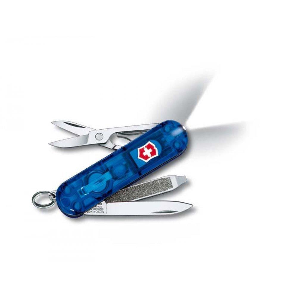 Нож-брелок VICTORINOX Swiss Lite, 58 мм, 7 функций, полупрозрачный синий 0.6228.T2