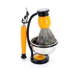 Бритвенный набор S.Quire: станок, помазок, чаша и подставка; жёлтый 1094