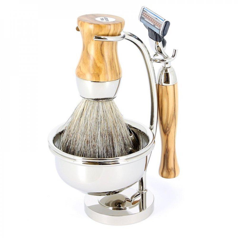 Бритвенный набор S.Quire: станок, помазок, чаша подставка; светло-коричневый 1143