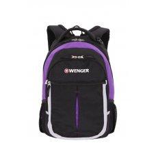 Рюкзак WENGER, чёрный/фиолетовый/серебристый, полиэстер 600D, 32х15х45 см, 22 л 13852915