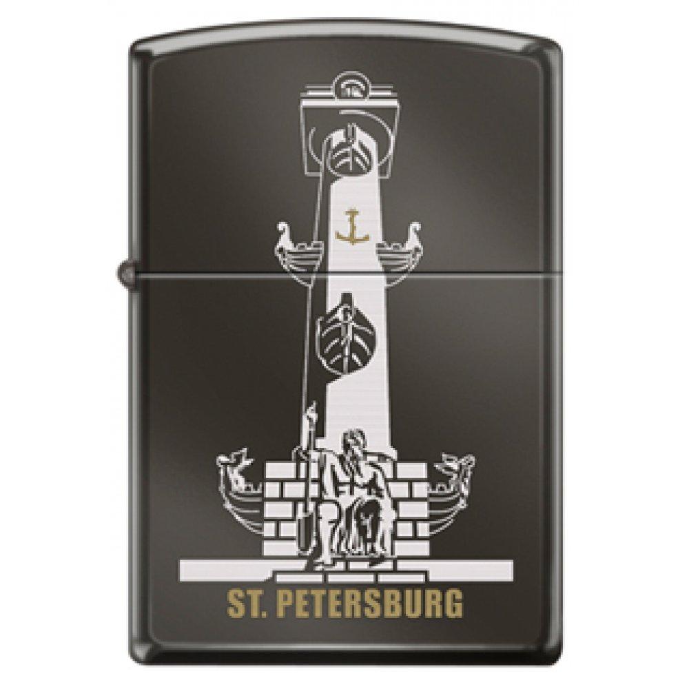 Зажигалка ZIPPO Ростральная колонна, с покрытием Black Ice®, латунь/сталь, чёрная, 36x12x56 мм 150 ROSTRAL COLUMN