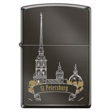 Зажигалка ZIPPO Петропавловская крепость, с покрытием Black Ice®, латунь/сталь, чёрная, 36x12x56 мм 150 ST PETER SKYLINE
