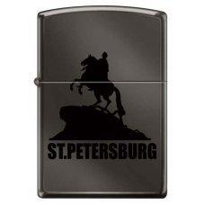 Зажигалка ZIPPO Медный всадник, с покрытием Black Ice®, латунь/сталь, чёрная, глянцевая, 36x12x56 мм 150 ST PETERSBURG