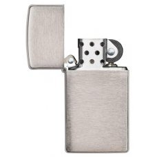 Зажигалка ZIPPO Slim® с покрытием Brushed Chrome, латунь/сталь, серебристая, матовая, 30х10x55 мм 1600