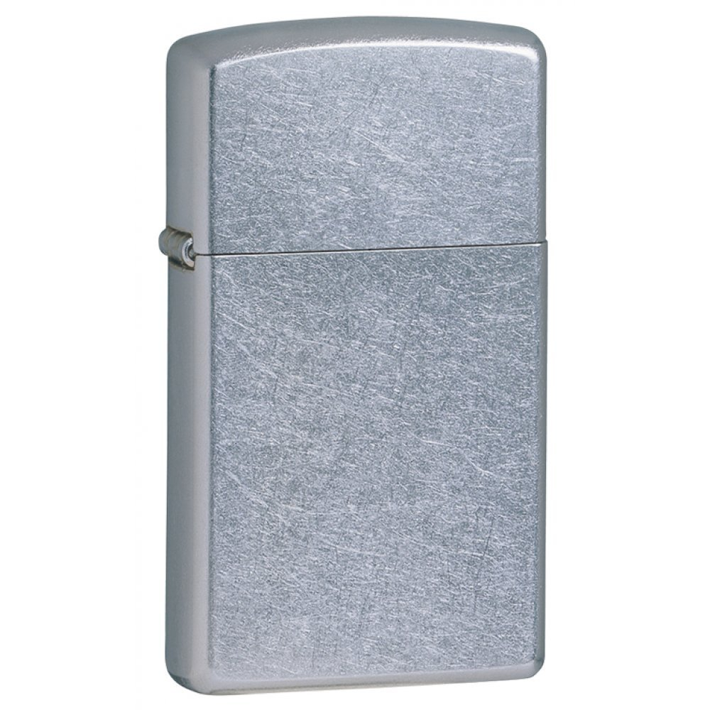 Зажигалка ZIPPO Slim® с покрытием Street Chrome™, латунь/сталь, серебристая, матовая, 30х10x55 мм 1607