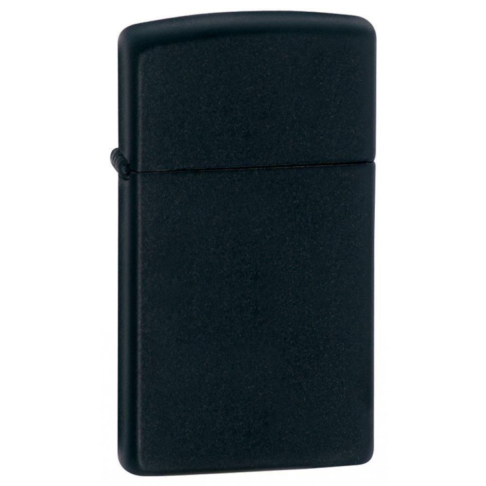 Зажигалка ZIPPO Slim® с покрытием Black Matte, латунь/сталь, чёрная, матовая, 30x10x55 мм 1618