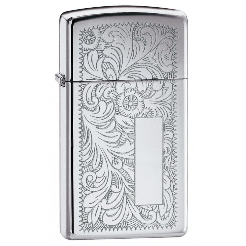 Зажигалка ZIPPO Slim® Venetian® с покрытием High Polish Chrome, латунь/сталь, 30x10x55 мм 1652