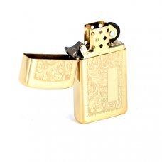 Зажигалка ZIPPO Slim® Venetian® с покрытием High Polish Brass, латунь/сталь, 30x10x55 мм 1652B