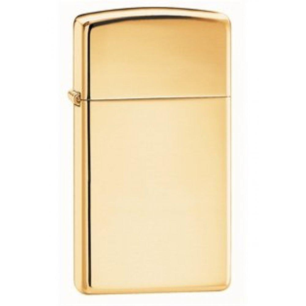 Зажигалка ZIPPO Slim® с покрытием High Polish Brass, латунь/сталь, золотистая, 30x10x55 мм 1654B
