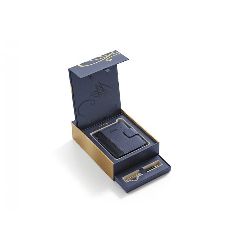 Подарочный набор Waterman: Шариковая ручка Waterman Carene Deluxe Black GT с блокнотом в обложке 1978717