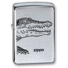 Зажигалка ZIPPO Alligator, с покрытием Brushed Chrome, латунь/сталь, серебристая, матовая, 36x12x56 200 ALLIGATOR