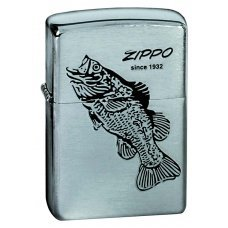 Зажигалка ZIPPO Black Bass, с покрытием Brushed Chrome, латунь/сталь, серебристая, 36x12x56 мм 200 BLACK BASS