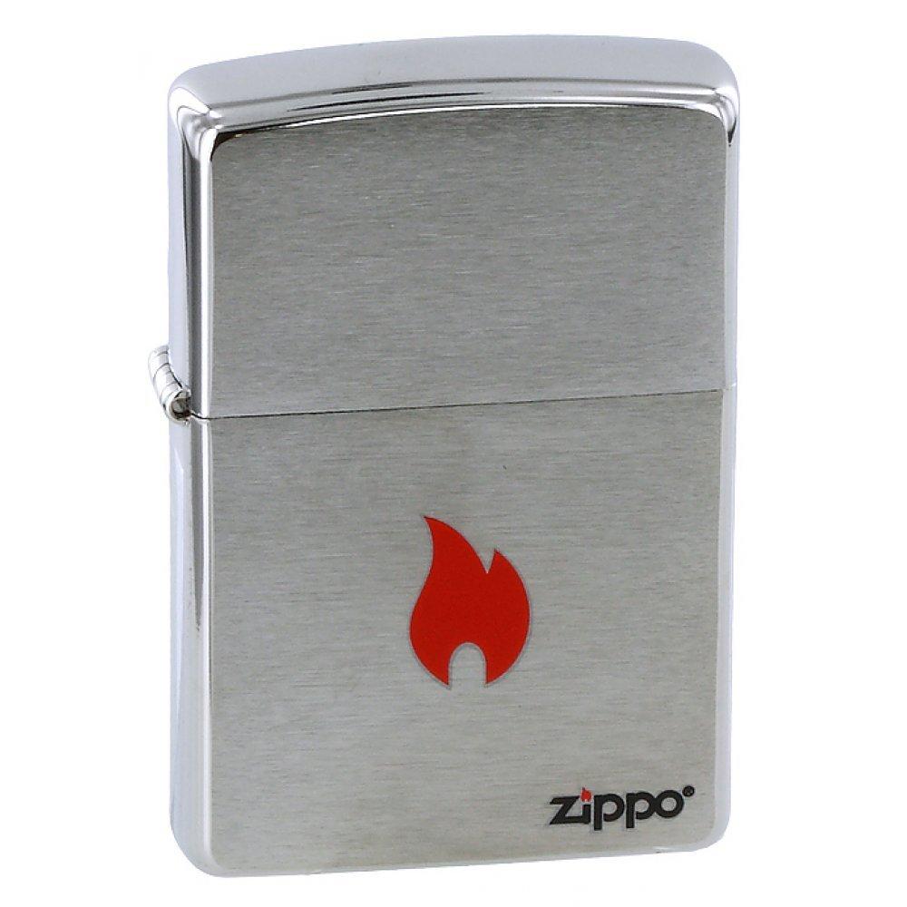 Зажигалка ZIPPO Flame, с покрытием Brushed Chrome, латунь/сталь, серебристая, матовая, 36x12x56 мм 200 FLAME