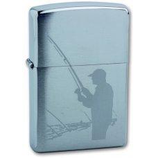 Зажигалка ZIPPO Fisherman, с покрытием Brushed Chrome, латунь/сталь, серебристая, матовая, 36x12x56 200 Fisherman