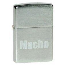 Зажигалка ZIPPO Macho, с покрытием Brushed Chrome, латунь/сталь, серебристая, матовая, 36x12x56 мм 200 Macho