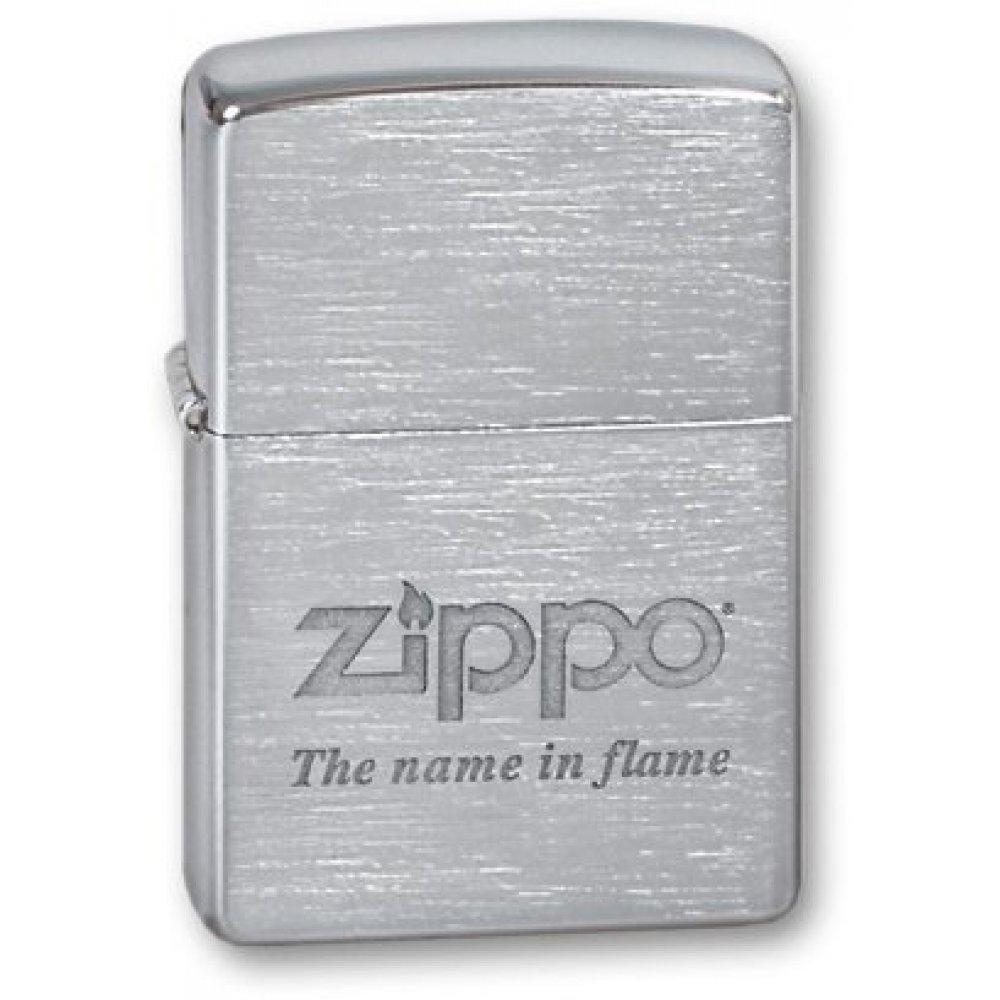 Зажигалка ZIPPO Name In Flame, с покрытием Brushed Chrome, латунь/сталь, серебристая, 36x12x56 мм 200 Name in flame