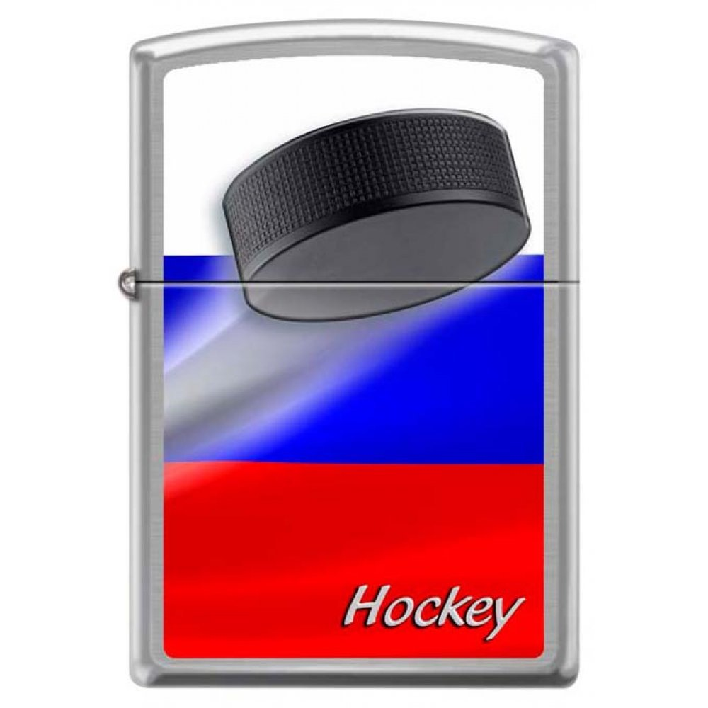 Зажигалка ZIPPO Российский хоккей, с покрытием Brushed Chrome, латунь/сталь, серебристая, 36x12x56мм 200 RUSSIAN HOCKEY PUCK