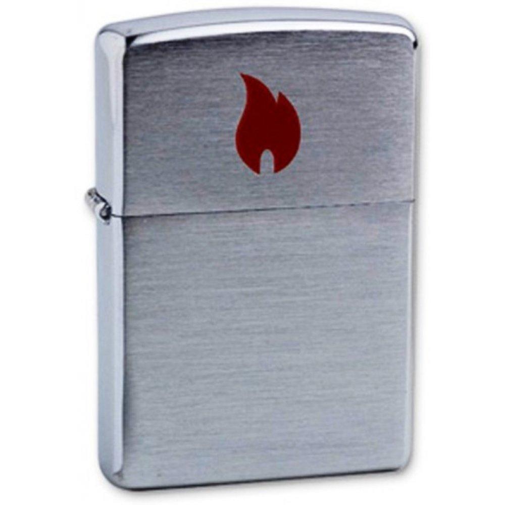 Зажигалка ZIPPO Red Flame, с покрытием Brushed Chrome, латунь/сталь, серебристая, 36x12x56 мм 200 Red Flame