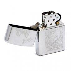 Зажигалка ZIPPO Wolf, с покрытием Brushed Chrome, латунь/сталь, серебристая, матовая, 36x12x56 мм 200 Wolf