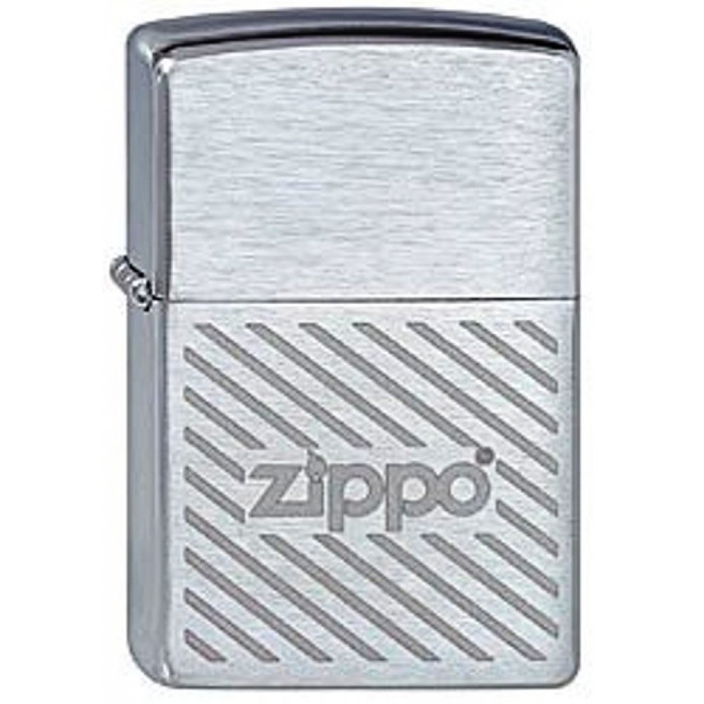 Зажигалка ZIPPO Stripes, с покрытием Brushed Chrome, латунь/сталь, серебристая, матовая, 36x12x56 мм 200 Zippo stripes