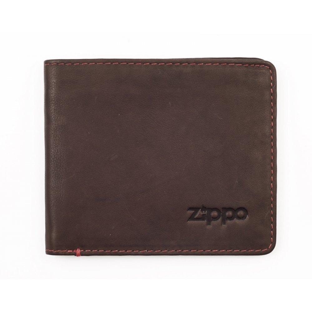 Портмоне ZIPPO, коричневое, натуральная кожа, 11x1.2x10 см 2005117