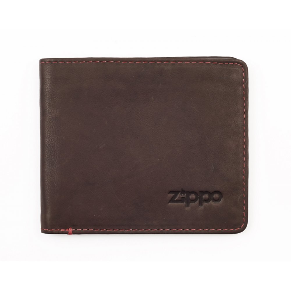 Портмоне ZIPPO, коричневое, натуральная кожа, 11x1.5x10 см 2005119
