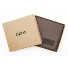 Портмоне ZIPPO, коричневое, натуральная кожа / холщовая ткань, 11x1.5x10.5 см 2005120