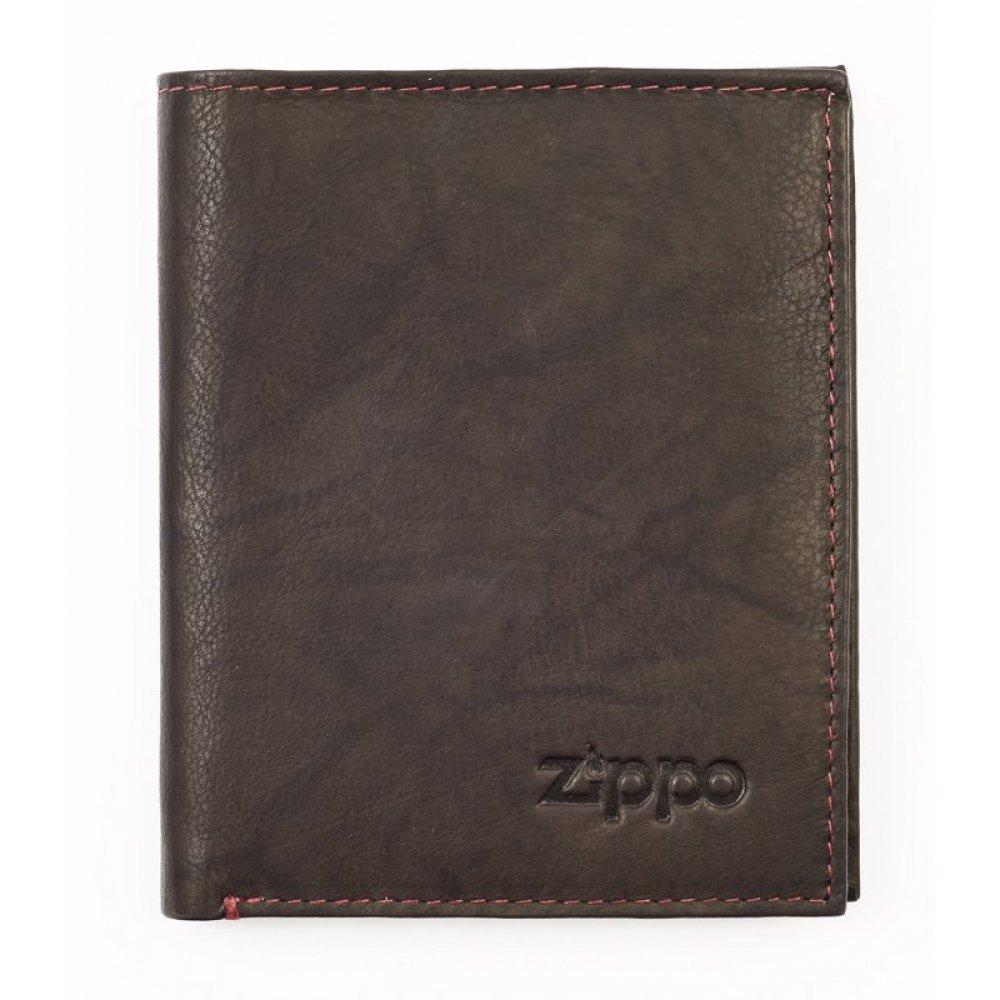 Портмоне ZIPPO, цвет мокко, натуральная кожа, 10x1.5x12.3 см 2005121