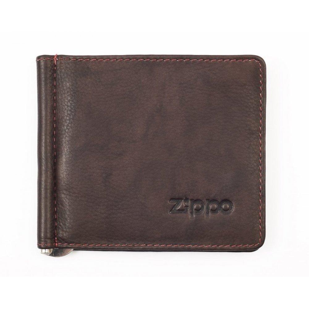Зажим для денег ZIPPO, коричневый, натуральная кожа, 10.5x1x9 см 2005126