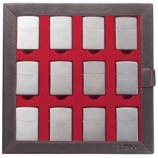 Кейс коллекционера для 12 зажигалок ZIPPO, чёрный, натуральная кожа, 24.5x3x24.5 см