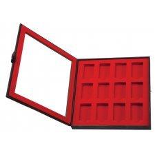 Кейс коллекционера для 12 зажигалок ZIPPO, чёрный, натуральная кожа, 24.5x3x24.5 см 2005422