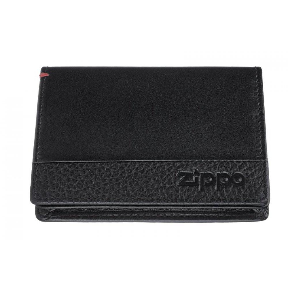 Держатель для карт ZIPPO с защитой от сканирования RFID, чёрная, натуральная кожа, 10.5×1.5×7.5 см 2006024