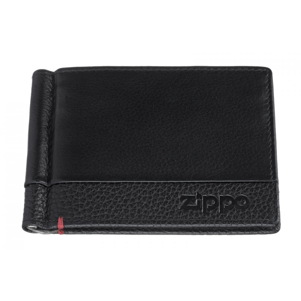 Зажим для денег ZIPPO с защитой от сканирования RFID, чёрный, натуральная кожа, 11x1x8.2 см 2006025