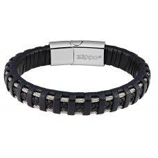 Браслет ZIPPO, чёрный, нержавеющая сталь/натуральная плетёная кожа, 22x1.40x0.80 см 2006231