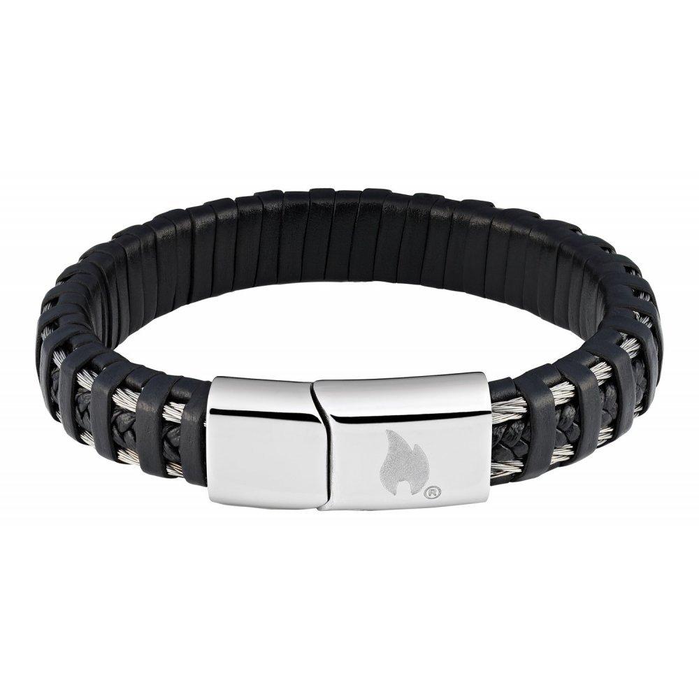 Браслет ZIPPO, чёрный, нержавеющая сталь/натуральная плетёная кожа, 20x1.40x0.80 см 2006232