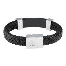 Браслет ZIPPO, чёрный, нержавеющая сталь/натуральная кожа, 22x1.40x0.80 см 2006233