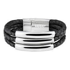 Браслет ZIPPO, чёрный, нержавеющая сталь/натуральная кожа, 22x1.85x0.80 см 2006235
