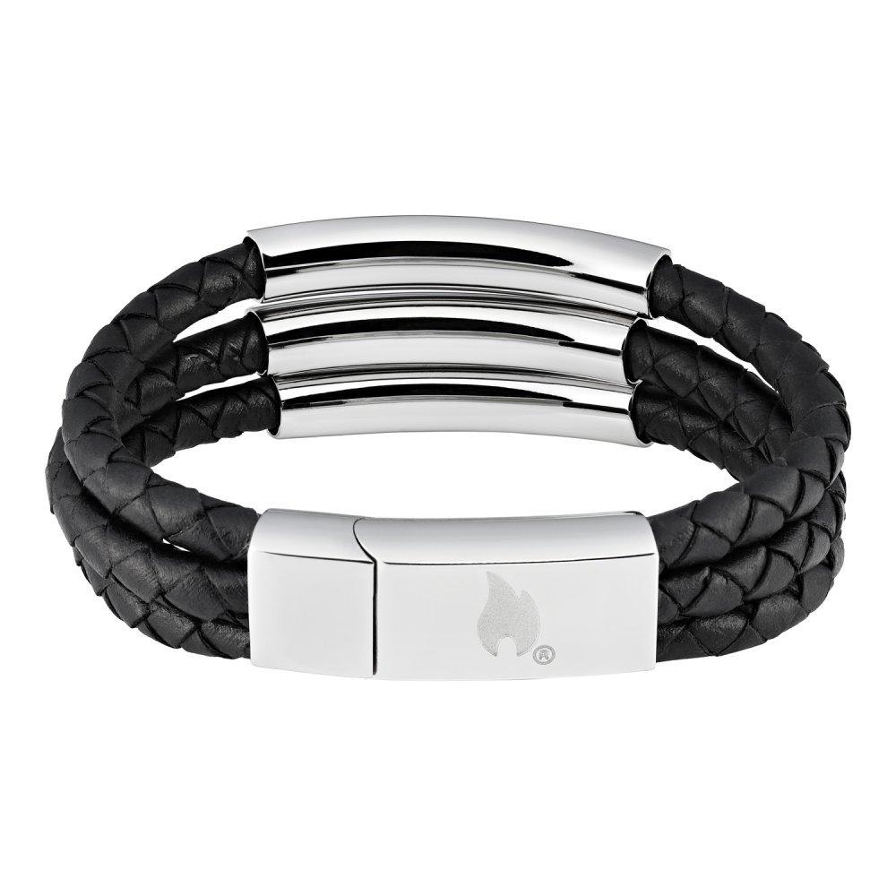 Браслет ZIPPO, чёрный, нержавеющая сталь/натуральная кожа, 20x1.85x0.80 см 2006236