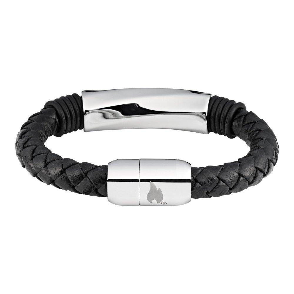 Браслет ZIPPO, чёрный, нержавеющая сталь/натуральная плетёная кожа, 22x1x1 см 2006237