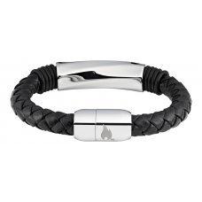 Браслет ZIPPO, чёрный, нержавеющая сталь/натуральная плетёная кожа, 20x1x1 см 2006238
