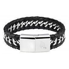 Браслет ZIPPO, чёрный, нержавеющая сталь/натуральная кожа, 22x1.80x0.70 см 2006239